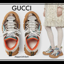 GUCCI Rubber Sole Lace-up Casual Style Blended Fabrics Leather