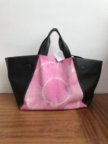 CELINE Casual Style Blended Fabrics Tie-dye Plain Leather Totes
