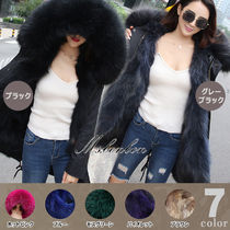 Unisex Fur Street Style Plain Medium Parkas