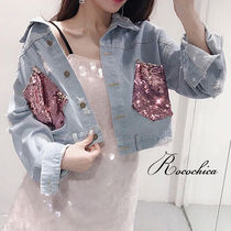 Short Casual Style Denim Blended Fabrics Plain Jackets