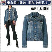 Saint Laurent Short Casual Style Denim Plain Jackets