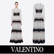 VALENTINO Long Sleeves Plain Cotton Long Elegant Style Dresses