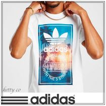 adidas Crew Neck Tropical Patterns Cotton Short Sleeves