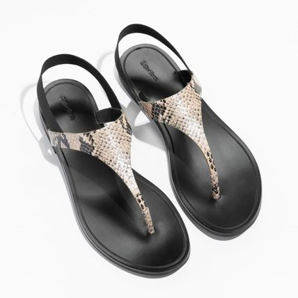 Casual Style Leather Python Sandals