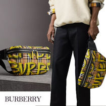 Burberry Other Check Patterns Unisex Street Style 2WAY Chain Leather