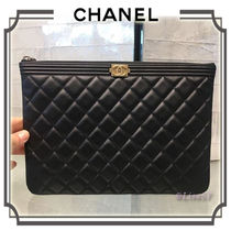 CHANEL BOY CHANEL Unisex Lambskin Plain Clutches