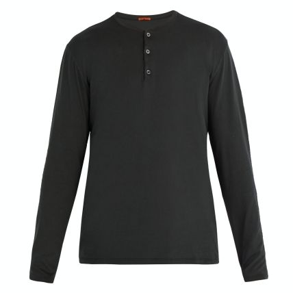 Henry Neck Long Sleeves Plain Cotton Long Sleeve T-Shirts