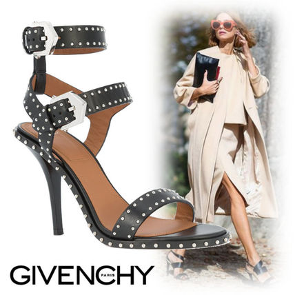 2206b9f1d0f ... GIVENCHY Heeled Open Toe Studded Plain Leather Pin Heels Elegant Style  ...