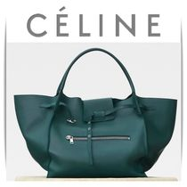 CELINE Calfskin 2WAY Plain Oversized Elegant Style Handbags