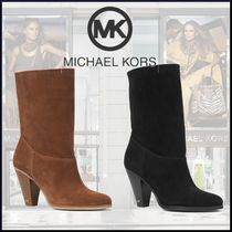 Michael Kors Casual Style Suede Plain Block Heels Ankle & Booties Boots