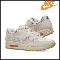 Nike AIR MAX 1 Flower Patterns Round Toe Casual Style Suede