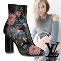 Louis Vuitton Flower Patterns Plain Toe Plain Leather Block Heels