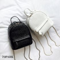 Casual Style Faux Fur 2WAY Chain Plain Backpacks