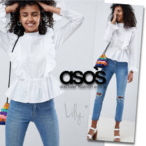 ASOS Stripes Dots Casual Style Peplum Long Sleeves Cotton