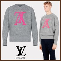 Louis Vuitton Crew Neck Pullovers Street Style Long Sleeves Plain Cotton