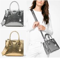 Michael Kors MERCER Street Style 2WAY Leather Python Elegant Style Shoulder Bags