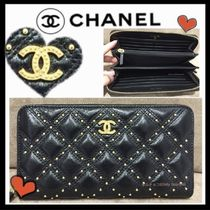 CHANEL MATELASSE Unisex Lambskin Studded Plain Long Wallets