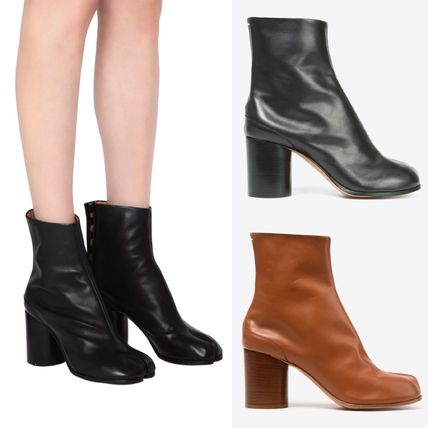 Casual Style Plain Leather Block Heels High Heel Boots