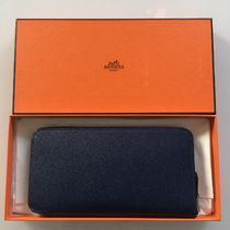 HERMES Silk In Unisex Plain Leather Long Wallets