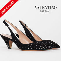 VALENTINO Dots Suede Studded Bi-color Block Heels Home Party Ideas