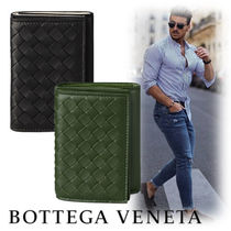 BOTTEGA VENETA Unisex Street Style Bi-color Leather Folding Wallets