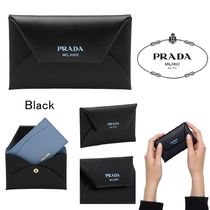 PRADA Plain Leather Card Holders