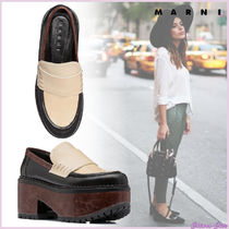 MARNI Platform Plain Toe Casual Style Plain Leather