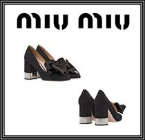 MiuMiu Round Toe Suede Blended Fabrics Plain With Jewels