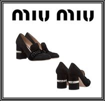 MiuMiu Round Toe Casual Style Suede Plain With Jewels Chunky Heels
