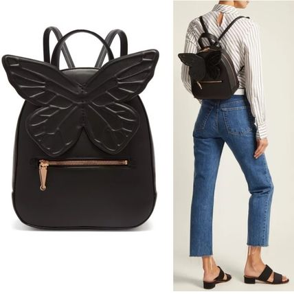 Casual Style Plain Other Animal Patterns Leather Backpacks