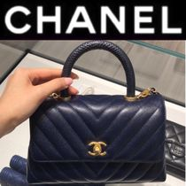 CHANEL ICON Stripes Calfskin 2WAY Chain Plain Handmade Elegant Style
