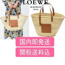LOEWE Unisex A4 2WAY Leather Straw Bags