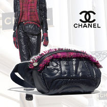 CHANEL Other Check Patterns Nylon Blended Fabrics Street Style 2WAY