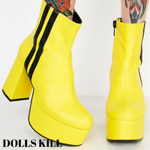 DOLLS KILL Platform Round Toe Casual Style Plain High Heel Boots