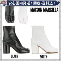 Maison Martin Margiela Square Toe Plain Leather Chunky Heels Ankle & Booties Boots