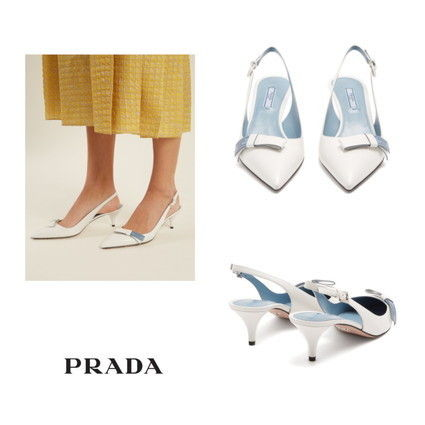 e53579784c81 ... PRADA Pointed Toe Plain Leather Elegant Style Pointed Toe Pumps   Mules  ...