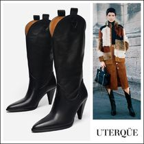 Uterque Cowboy Boots Plain Leather High Heel Boots