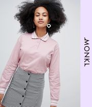 MONKI Casual Style Street Style Long Sleeves Polo Shirts