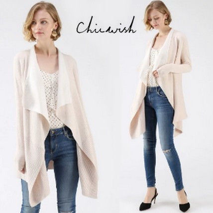 Rib Long Sleeves Cotton Oversized Elegant Style Cardigans