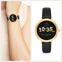 kate spade new york Leather Round Digital Watches