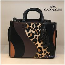 Coach ROGUE Leopard Patterns 2WAY Leather Elegant Style Handbags
