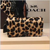 Coach DINKY Leopard Patterns Leather Elegant Style Shoulder Bags