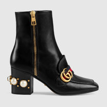 GUCCI Square Toe Studded Street Style Plain Leather Block Heels
