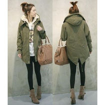 Casual Style Plain Medium Parkas