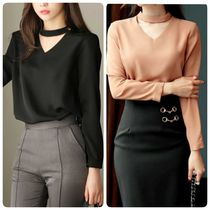 CHICLINE Long Sleeves Plain Elegant Style Shirts & Blouses