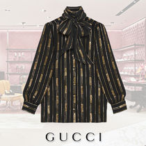 GUCCI Stripes Silk Puffed Sleeves Medium Elegant Style