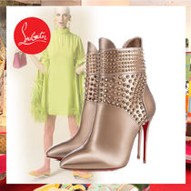 Christian Louboutin Casual Style Plain Leather Pin Heels Ankle & Booties Boots