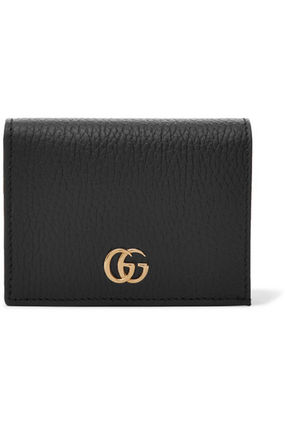 GUCCI GG Marmont Unisex Plain Leather Small Wallet Folding Wallets