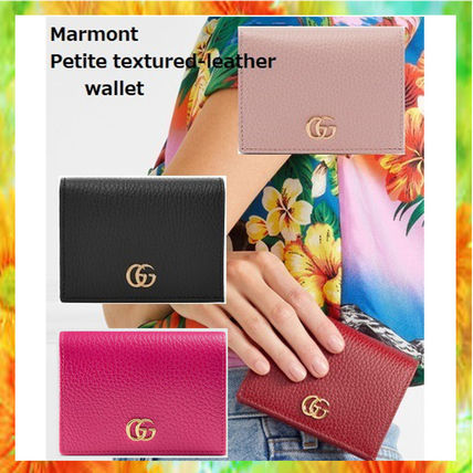 2191cb68ebaf GUCCI GG Marmont 2018-19AW Unisex Plain Leather Folding Wallets ...