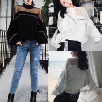 Short Blended Fabrics Bi-color Long Sleeves Plain